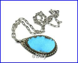 Old Pawn Navajo Signed Sterling Silver Turquoise Pendant 17 Chain Necklace