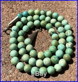 Old Pawn Navajo Sterling Silver & Spiderweb Turquoise 7mm Bead Heishi Necklace
