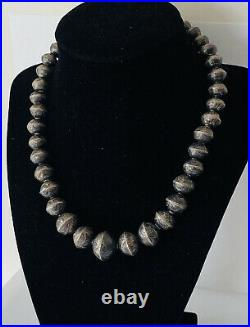 Old Pawn Navajo Sterling Silver Stamped Pearl Bench Bead Graduated Necklace 17