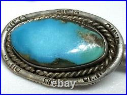 Old Pawn Navajo Sterling Silver Turquoise Squash Blossom 26 Bench Bead Necklace