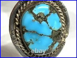 Old Pawn Navajo Sterling Silver Turquoise Squash Blossom Bench Bead Necklace