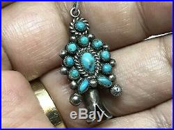 Old Pawn Navajo Sterling Squash Blossom Turquoise Cluster Pendant 17 Necklace