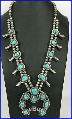 Old Pawn Navajo Turquoise Squash Blossom Naja Sterling Bench Bead Necklace