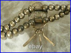 Old Pawn Signed Navajo Bench Pearl Beads Squash Blossom Necklace Turquoise
