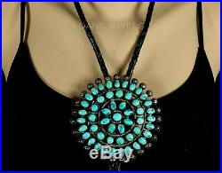 Old Pawn Vintage Navajo 1950's Gorgeous Cluster 3 TURQUOISE Sterling Bolo Tie
