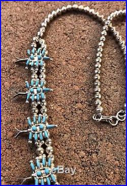 Old Pawn ZUNI Sterling Silver Turquoise Needlepoint SQUASH BLOSSOM Necklace 26