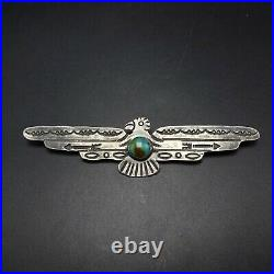 Old Style NAVAJO Hand-Stamped Sterling Silver TURQUOISE THUNDERBIRD PIN/BROOCH