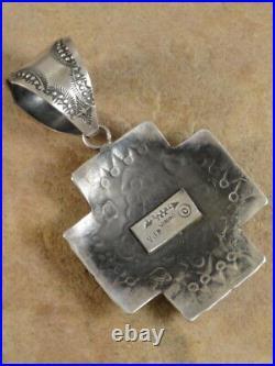 Old Style Navajo Sterling Silver Santa Fe Cross Pendant