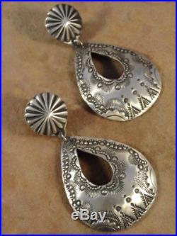 Old Style Navajo Sterling Silver Stamped Hoop Earring