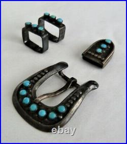 Old Vintage Navajo Sterling Silver Turquoise Miniature Child Ranger Belt Buckle