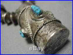 Opulent Vintage Navajo Sterling Silver Turquoise Drum Necklace Old