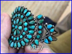 Pair! Old! Teardrop Zuni / Navajo Turquoise & Sterling Silver Cuff Bracelets
