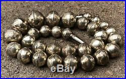 Pawn Native American Sterling Silver Graduated Pearl Disk Bench Bead Necklace