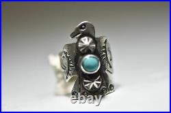 Phoenix ring long Navajo thunderbird turquoise southwest sterling silver women