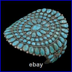 Pre-1940's Navajo Old Pawn Sterling Silver MORENCI Turquoise Cluster Bracelet