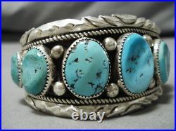 Quality Vintage Navajo Natural Turquoise Sterling Silver Native Bracelet