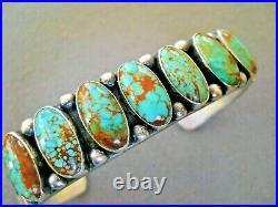 RARE KIRK SMITH Native American Navajo Turquoise Row Sterling Silver Bracelet