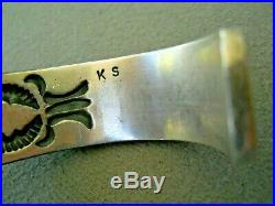 RARE KIRK SMITH Native American Navajo Turquoise Row Sterling Silver Bracelet KS