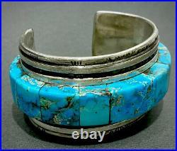 RARE MUSEUM Navajo Turquoise Inlay & Heishi Silver Cuff Bracelet Loloma Student