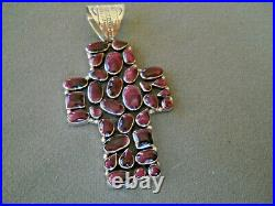 RICHARD BEGAY Navajo Purple Spiny Oyster Cluster Sterling Silver Cross Pendant