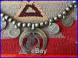 Rare Old Pawn Navajo Old Necklace Sterling Silver & Turquoise & Mercury Dimes