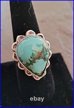Ring Lot of 7 Sterling Vintage Retro Navjo Turquoise Old Pawn Southwest Style
