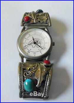 Robert Becenti Native American Turquoise MAN Watch Tips Band STERLING SILVER