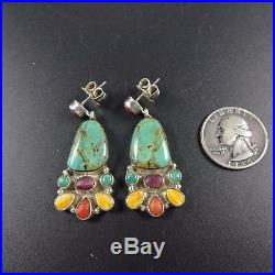Signed Vintage NAVAJO Sterling Silver & TURQUOISE Spiny Oyster Shell EARRINGS