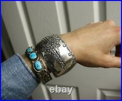 Simon Garcia Wide Heavy Native American Navajo Sterling Silver Cuff Bracelet