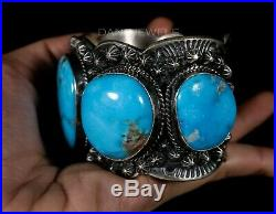 Solid & Heavy Old Pawn Natural Morenci Turquoise Sterling Wide CUFF Bracelet
