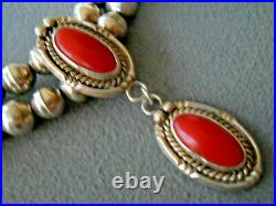 Southwestern Native American Navajo Coral Sterling Silver Bead Necklace