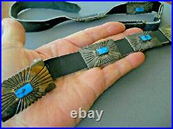 Southwestern Native American Turquoise Sterling Silver Etched Concho Belt