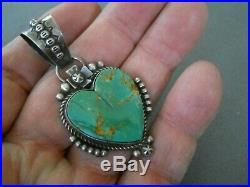 Southwestern Native American Turquoise Sterling Silver Heart Pendant Signed R