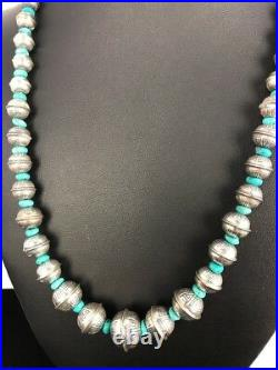 Stamp Bench Navajo Pearls Graduated Sterling Silver Turquoise Bead Necklace 22