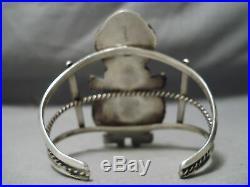 Statement Vintage Navajo Huge Kachina Turquoise Sterling Silver Bracelet Old
