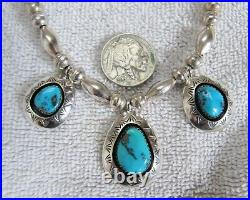 Sterling Silver & Kingman Turquoise Pendant Necklace Navajo Indian Bench Beads