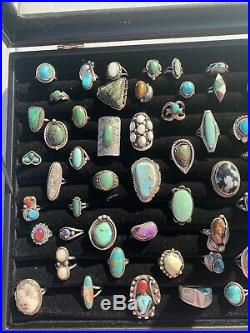 Sterling Silver Native American Navajo Pawn Turquoise Coral Reseller Ring Lot