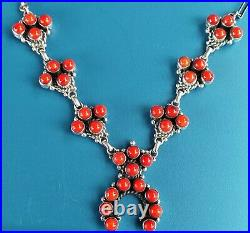 Sterling Silver Native American Red Coral PetitePt SQUASH BLOSSOM Necklace 45G T