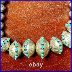 Sterling Silver Navajo Hand Carved Pearls Beads Graduated Turquoise 156 grams