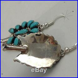 Sterling Silver Navajo Handmade Cluster Turquoise Squash Blossom Necklace Set