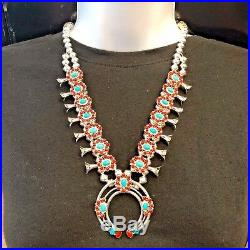 Sterling Silver Navajo Natural Turquoise & Coral Squash Blossom Necklace Set
