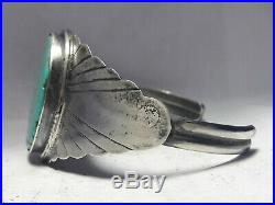 Sterling Silver Spiderweb Turquoise Navajo cuff bracelet 38.4 grams
