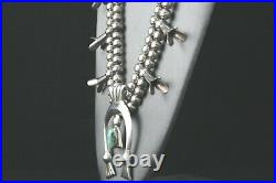 Sterling Silver Squash Blossom Turquoise Necklace Navajo Style Southwestern 26