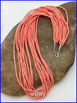 Stunning Pink Coral Heishi 10S Sterling Silver Necklace 19 4388 Gift Sale