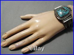 Stunning Vintage Navajo Bisbee Turquoise Sterling Silver Bracelet Old