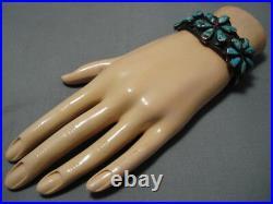 Stunning Vintage Navajo Royston Turquoise Sterling Silver Flower Bracelet Old