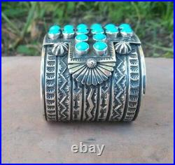 Sunshine Reeves Native American Sterling & Sleeping Beauty Turquoise Cuff signed