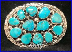 T7 Native American Navajo Sterling Silver Turquoise Handmade Belt Buckle