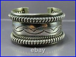 TAHE NAVAJO Sterling Silver WIDE CUFF BRACELET Stamped 7 ROWS withCOILS Heavy