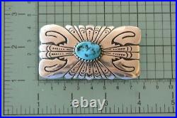 TOMMY SINGER Navajo Concho BELT BUCKLE Sterling Silver TURQUOISE NOS Thomas
